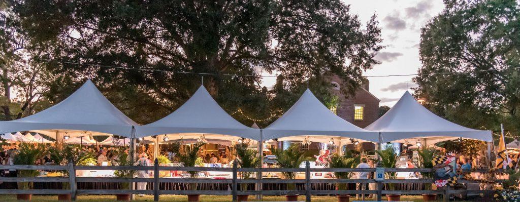 Photo of vendor tents at autumn wine tasting